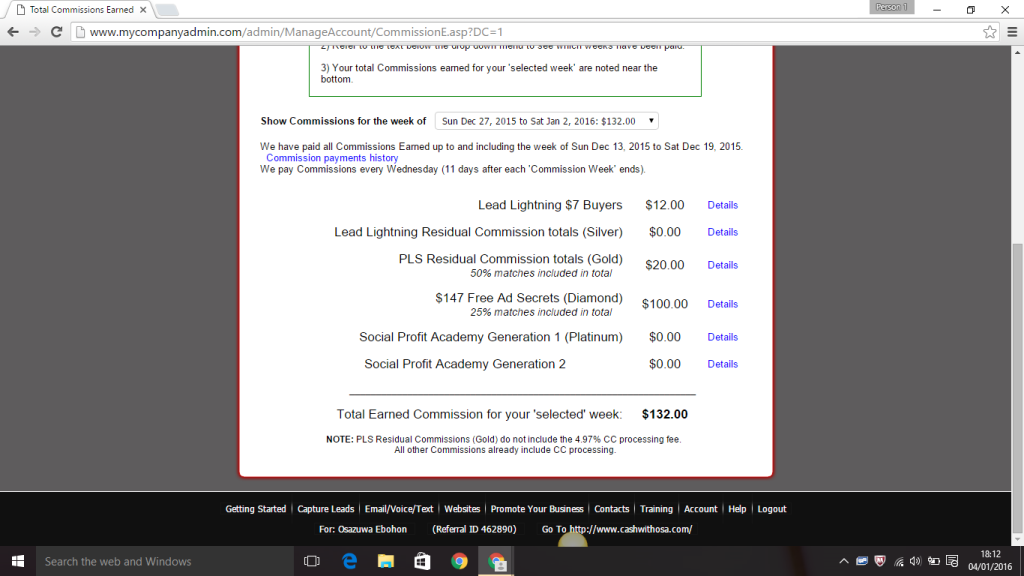 My Power Lead System account screenshot week ending Jan 2, 2016