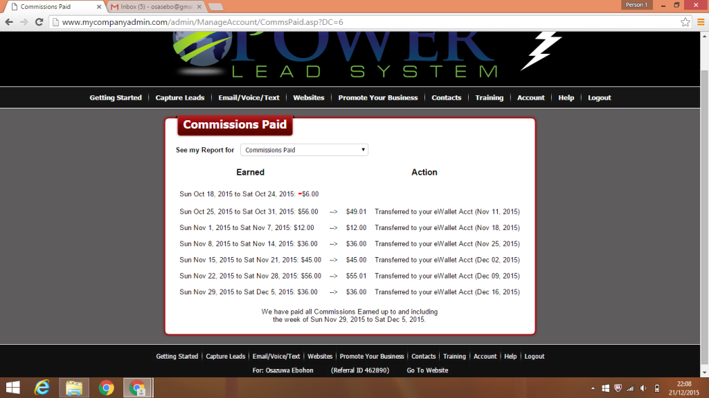 My Power Lead System account screenshot week after week result